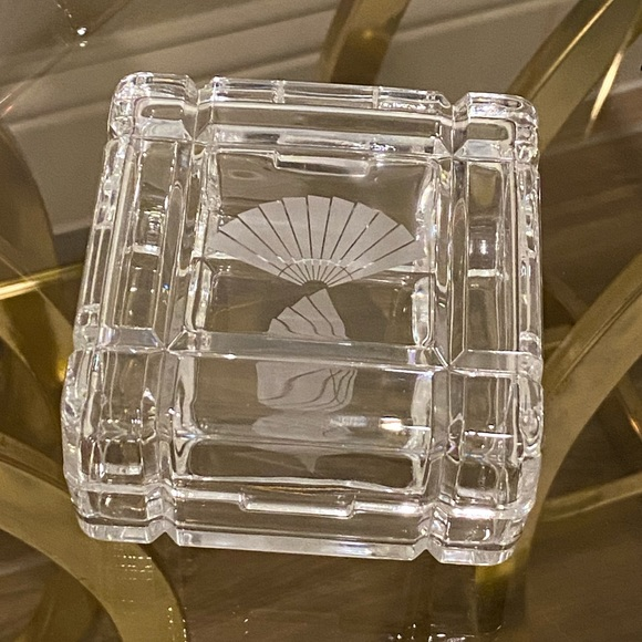 Vintage Crystal Trinket Box with Etched Fans